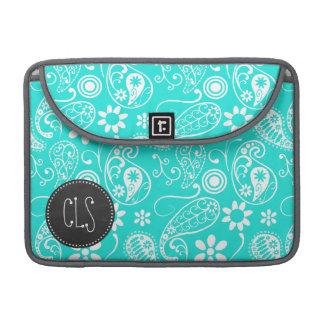 Color Paisley de la aguamarina; Floral; Pizarra Fundas Macbook Pro