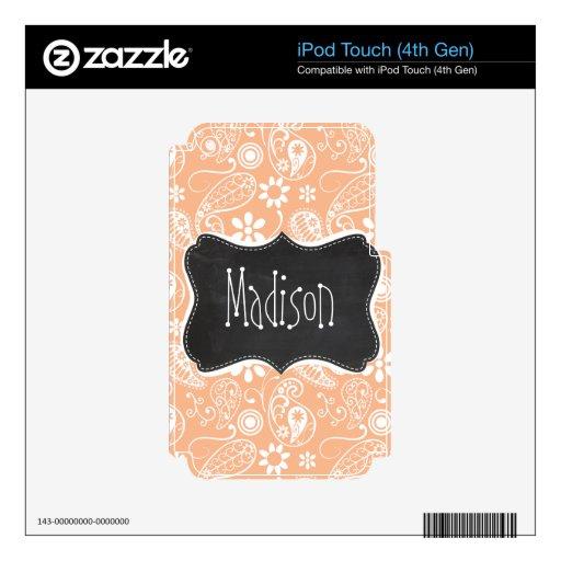 Color Paisley del albaricoque de la pizarra del vi iPod Touch 4G Skin