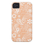 Color Paisley del albaricoque; Floral iPhone 4 Case-Mate Cárcasa