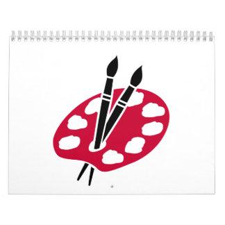 Color palette brushes calendar