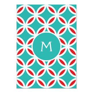 COLOR PALETTE:   turquoise, teal, aqua blue, red, Card