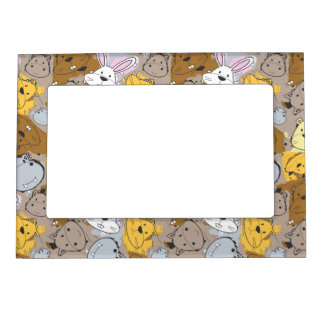 Color Patches with Cartoon Animal Pattern Magnetic Frame
