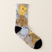 Color Patches with Cartoon Animal Pattern Socks