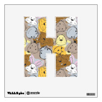 Color Patches with Cartoon Animal Pattern Wall Decal