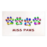 Color Pawprints del arco iris de las patas Plantillas De Tarjeta De Negocio