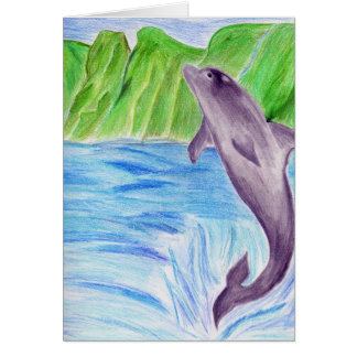 Color pencil dolphin card