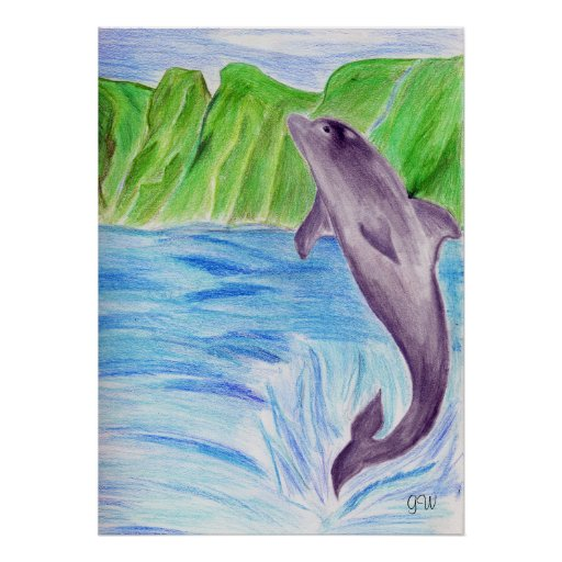 Color pencil dolphin poster