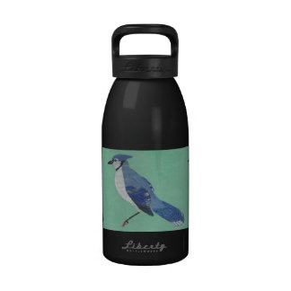 Color Pencil Drawing of a Pretty Blue Jay Bird Water Bottles