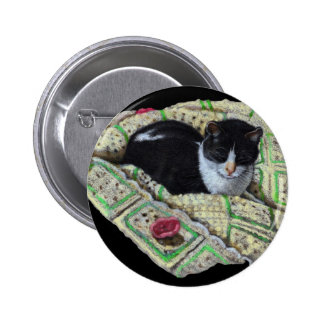 Color Pencil Drawing of Cat on Afghan Napping Buttons