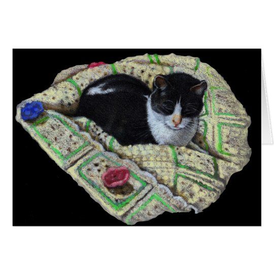 Color Pencil Drawing of Cat on Afghan, Napping Card