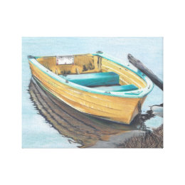 Color Pencil Drawing of Yellow Boat Canvas Print