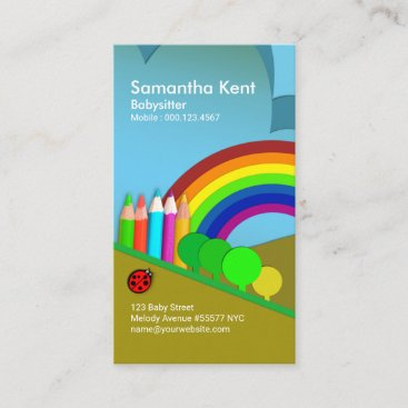 Color Pencil Hill Babysitter's Rainbow Business Card