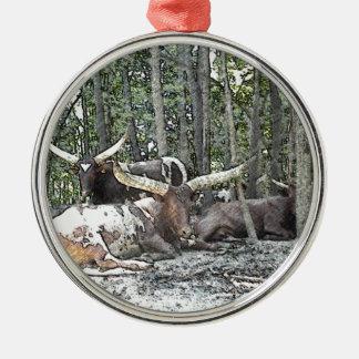 Color Pencil Longhorns Metal Ornament