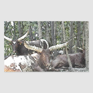 Color Pencil Longhorns Rectangular Sticker