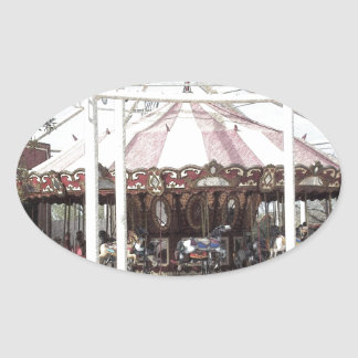 Color Pencil Sketch of Antique Carousel Oval Sticker