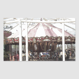 Color Pencil Sketch of Antique Carousel Rectangular Sticker