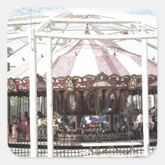 Color Pencil Sketch of Antique Carousel Square Sticker