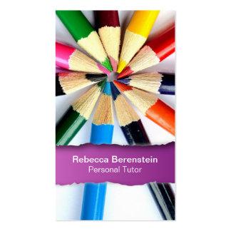 Color Pencil Tutor Ripped Fuschia Business Card