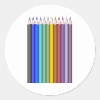 Color Pencils Classic Round Sticker