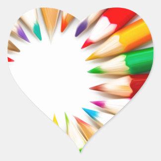 Color Pencils Heart Sticker