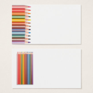 Color Pencils Isolated on White Background Business Card