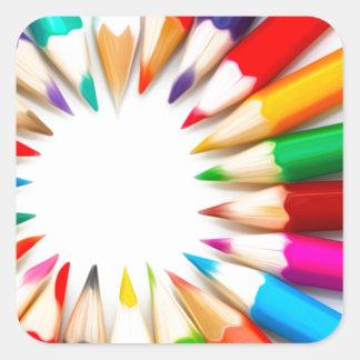 Color Pencils Square Sticker