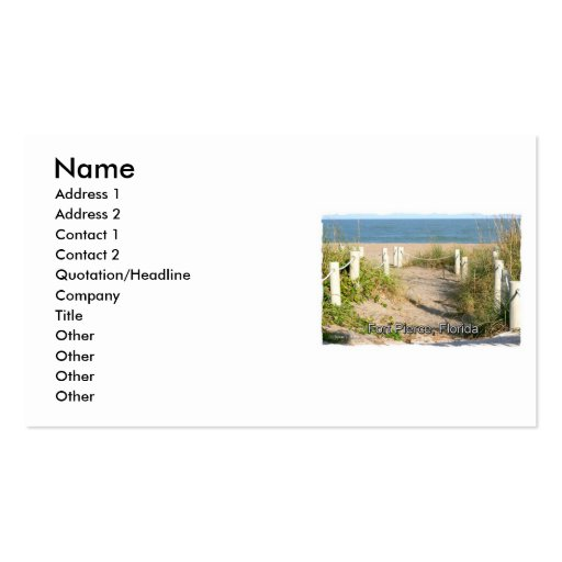 Color picture of beach dune walk Ft. Pierce, FL Business Card Template