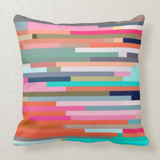 Throw Pillows Primary Colors : Color Pixel Stripes Throw Pillow Zazzle