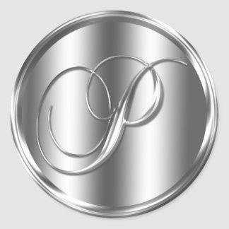 Color plata del monograma P Pegatina Redonda