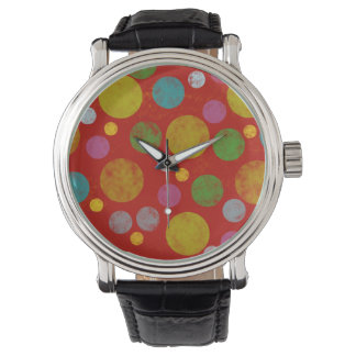 color polka dots pattern watch