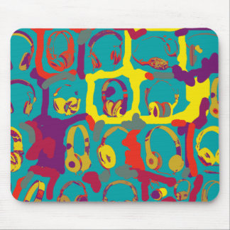 color pop art dj headphones mouse pad