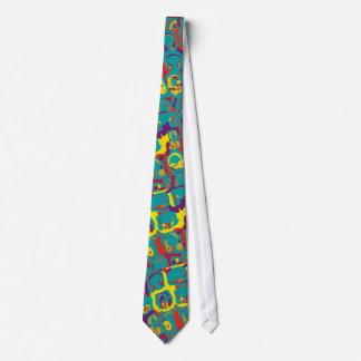 color pop art dj headphones neck tie