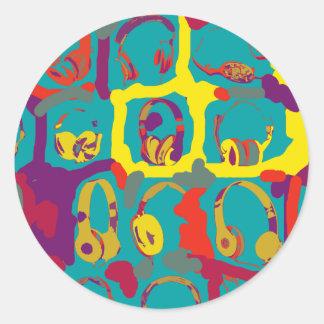 color pop art dj headphones sticker