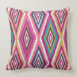 Color Pop Ikat Diamonds Throw Pillows