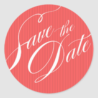 Color Pop Pinstripe Signature Save the Date coral Classic Round Sticker