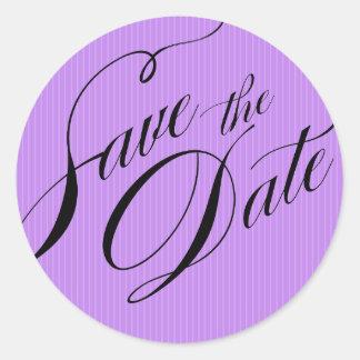 Color Pop Pinstripe Signature Save the Date lilac Classic Round Sticker