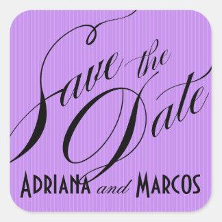 Color Pop Pinstripe Signature Save the Date lilac Square Sticker