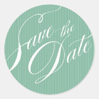 Color Pop Pinstripe Signature Save the Date mint Classic Round Sticker