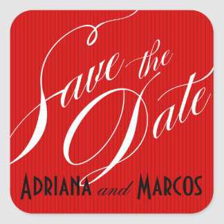 Color Pop Pinstripe Signature Save the Date red Square Sticker