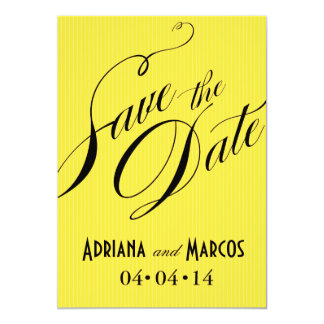 Color Pop Pinstripe Signature Save the Date yellow Card