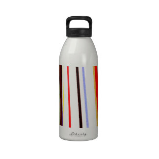 Color purple yellow red black lines pattern reusable water bottle