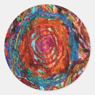 Color que remolina pegatina redonda