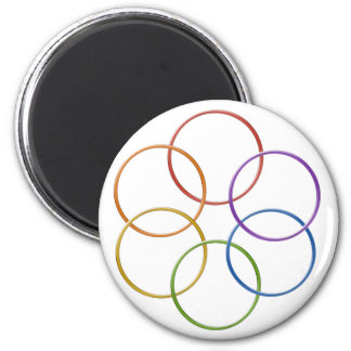 Color Rainbow Gay Pride Rings 2 Inch Round Magnet