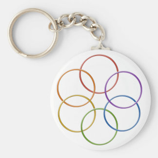 Color Rainbow Gay Pride Rings Basic Round Button Keychain