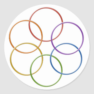 Color Rainbow Gay Pride Rings Classic Round Sticker