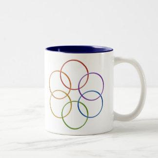 Color Rainbow Gay Pride Rings Two-Tone Coffee Mug