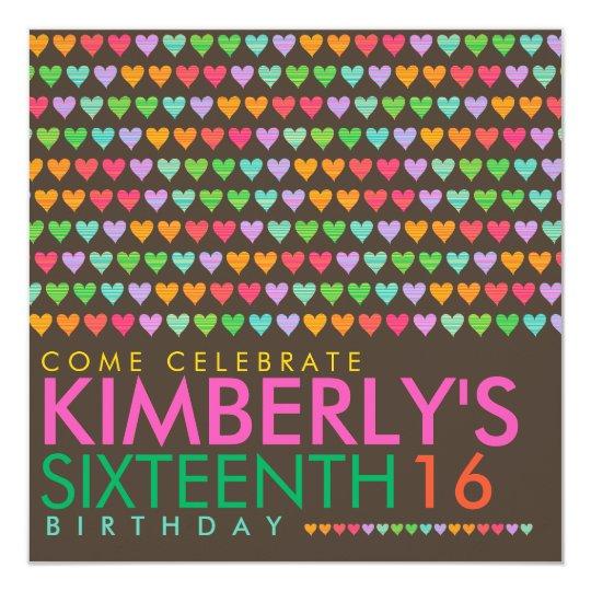 Color Rainbow Love Hearts 16th Birthday Party Card