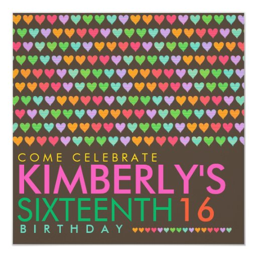 Color Rainbow Love Hearts 16th Birthday Party 5.25x5.25 Square Paper Invitation Card