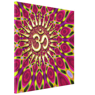 Color Rays Gold Om Sign Psychedelic Canvas Stretched Canvas Print