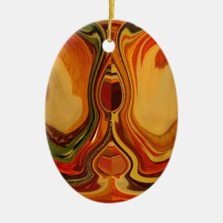 Color retro fresco de la trama de la caída de adorno ovalado de cerámica